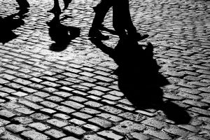 Shadows on cobblestones
